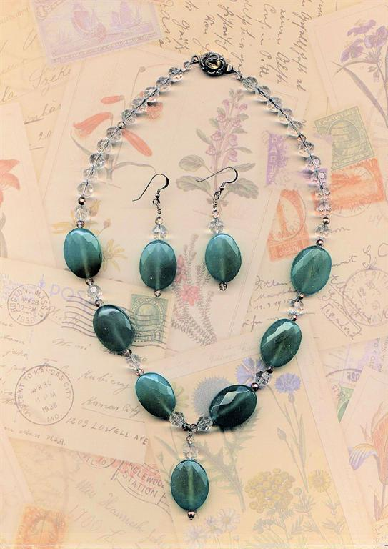 "Green Goddess""... Aventurine and crystal necklace and earring set"